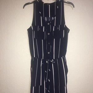 4/$25 Iris navy pinstripe jumpsuit size medium
